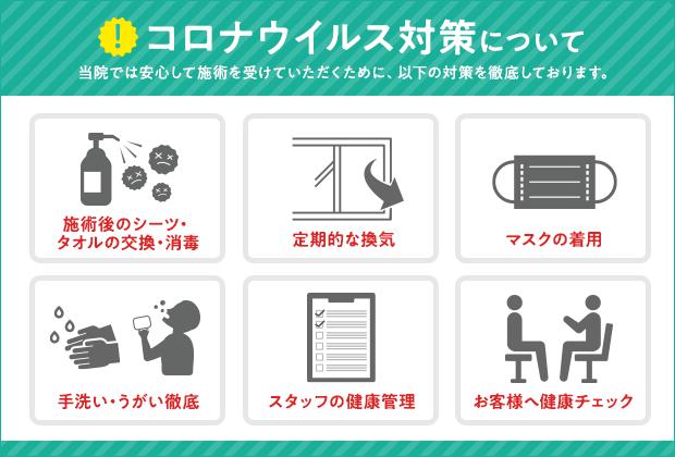 赤坂元気堂では施術中の新型コロナウイルス対策に力を入れています